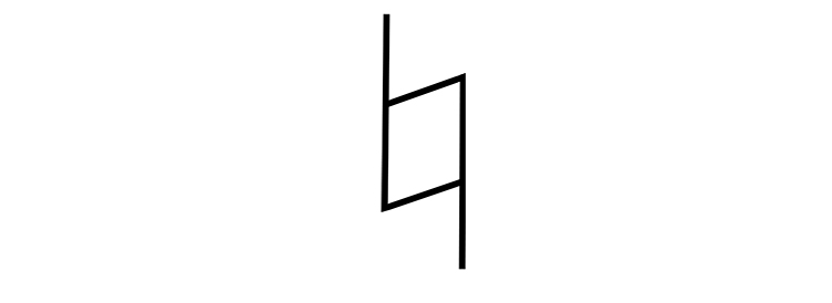 The natural sign is written using the following symbol: