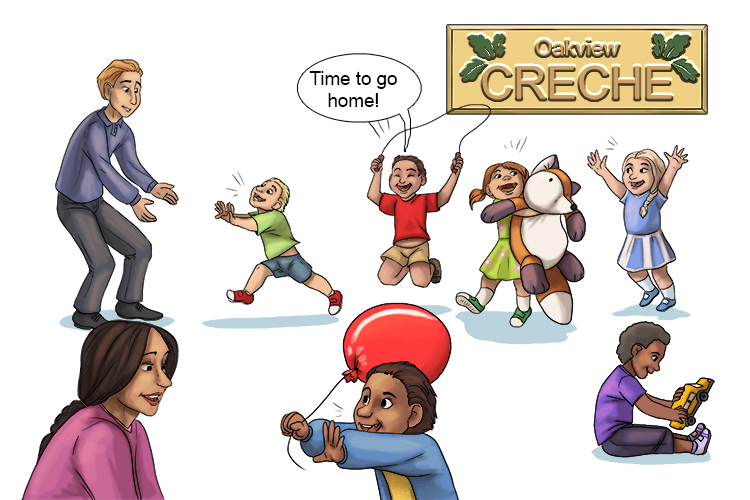 When the creche ends (crescendo) the noise gets gradually louder as children see their parents.