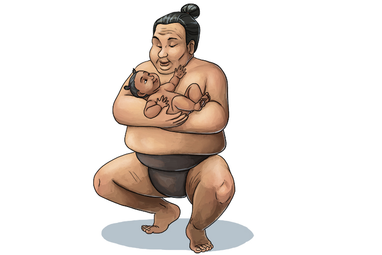 Will she pee on this sumo (pianissimo)? The baby is very quiet, but she is full of surprises!