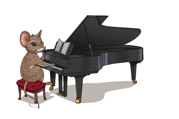 The tiny mouse played the piano so quietly so that she didn't wake anyone up.