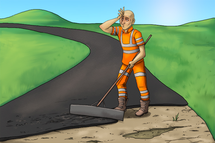 The roadworkers re-tarred and do (ritardando) repairs on the road but got gradually slower as they become tired.