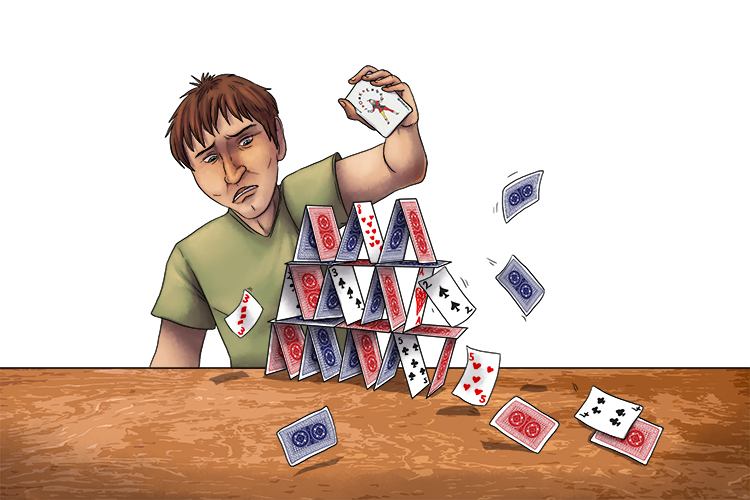 The stack of cards were oh (staccato) so high but then suddenly tumbled and the cards became detached.