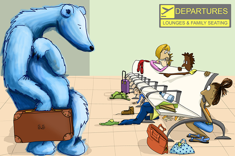 A bear caused a sensation (aberration) when it entered the departure lounge of the airport. The other passengers thought it was far from normal.