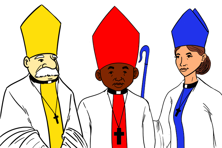 Mnemonic showing bishops as bicuspid and mitre hats as mitral