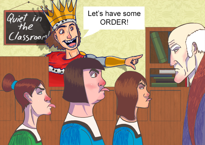 Image of the king showing the children some order and how to behave