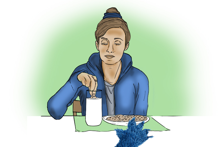 Picture of a girl eating and drinking to depict nutrition