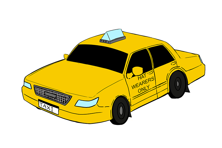 A picture of a taxi that in this context shows form, structure and shape known as morphology