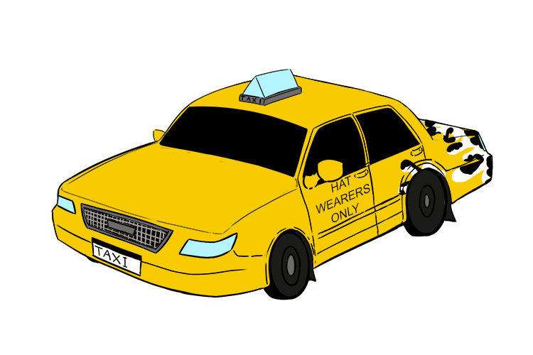 A picture of a taxi starting to morph and change colour