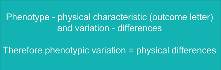 Text to remember phenotypic variation is the physical differences
