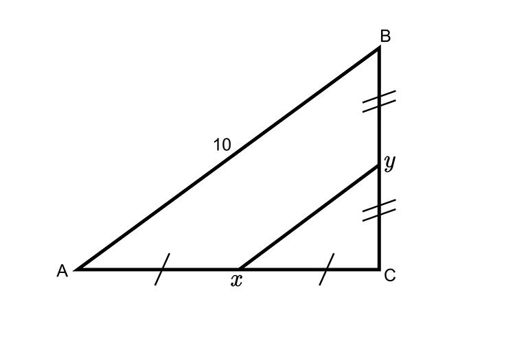 Finding the length of x to y in a triangle using Thales midpoint theorem and Pythagoras's theorem
