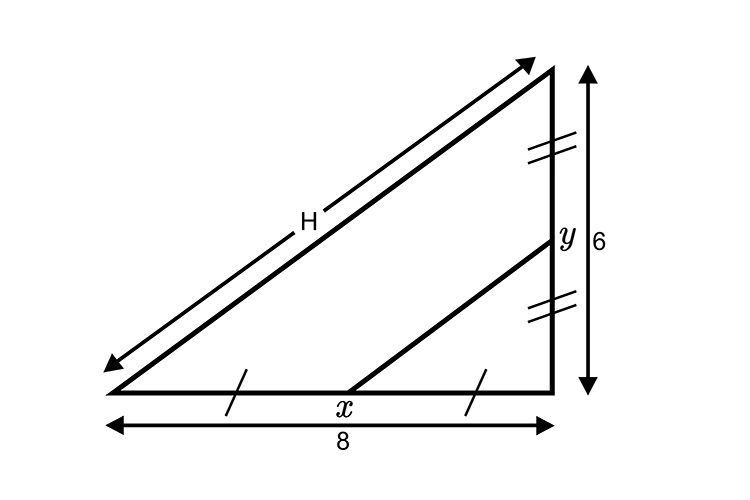 Using Thales midpoint theorem to find the length of x to y in the triangle