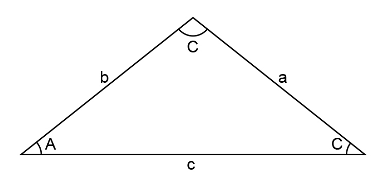 Triangle with sides and angles labeled side a, side b, side c, Angle A, Angle B, Angle C